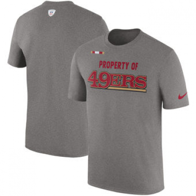 NFL 49ers Nike Sideline Property Of Facility T-Shirt Heather Gray