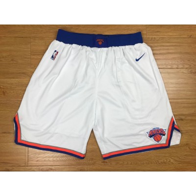 NBA Knicks White Nike Authentic Shorts