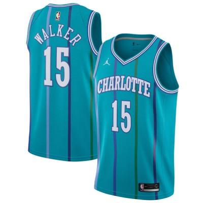 NBA Hornets 15 Kemba Walker Aqua Jordan Hardwood Classics Swingman Men Jersey