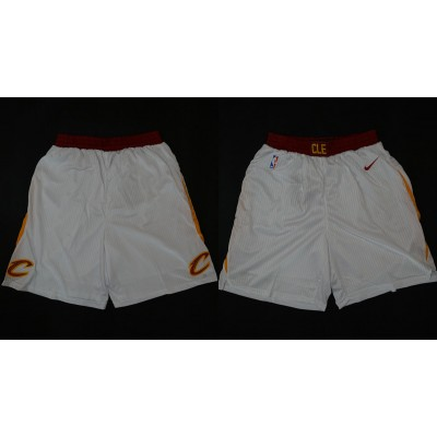 NBA Cavaliers White Nike 2017-18 Autentic Shorts