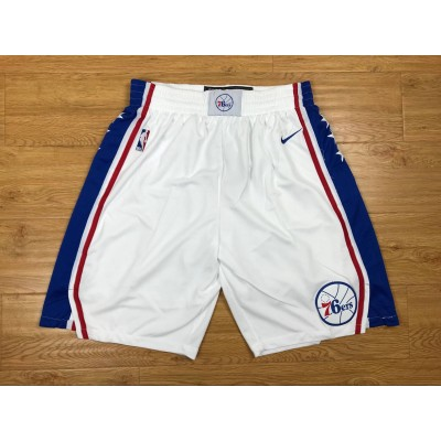 NBA 76ers White Nike Authentic Shorts