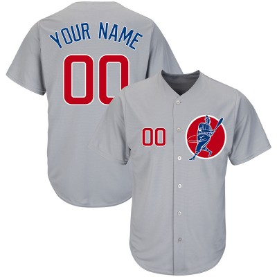 MLB Cubs Gray Cool Base New Design Customized Men Jersey