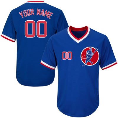 MLB Cubs Blue Throwback New Design Customized Men Jersey
