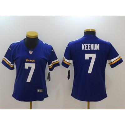NFL Vikings 7 Case Keenum Purple Vapor Untouchable Nike Limited Women Jersey
