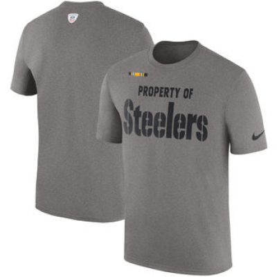 NFL Steelers Nike Sideline Property Of Facility T-Shirt Heather Gray