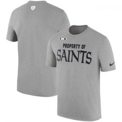 NFL Saints Nike Sideline Property Of Facility T-Shirt Heather Gray