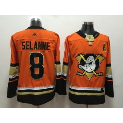 NHL Ducks 8 Teemu Selanne Orange Adidas Men Jersey