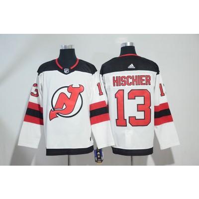 NHL Devils 13 Nico Hischier White Adidas Men Jersey