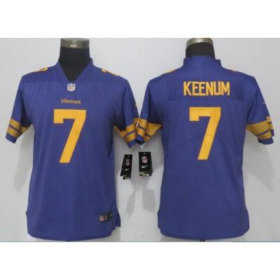 NFL Vikings 7 Case Keenum Purple Color Rush Limited Women Jersey