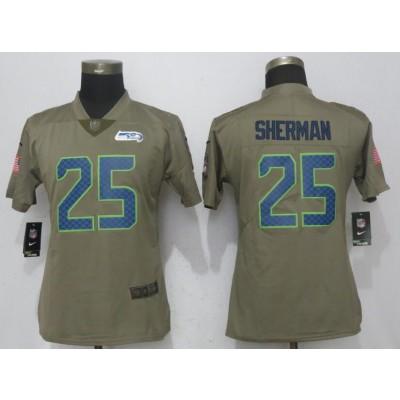 NFL Seahawks 25 Richard Sherman Olive Salute To Service Nike Limited Women Jersey