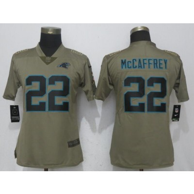 NFL Panthers 22 Christian McCaffrey Olive Salute To Service Nike Limited Women Jersey