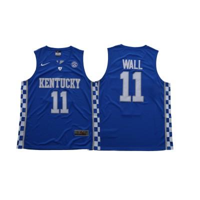 NCAA Kentucky Wildcats 11 John Wall Blue Basketball Men Jersey