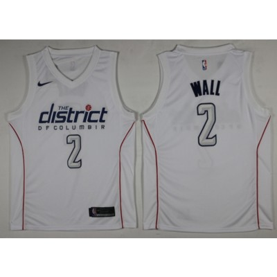 NBA Wizards 2 John Wall White City Edition Nike Swingman Men Jersey