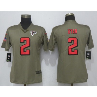 Nike Falcons 2 Matt Ryan Olive 2017 Salute To Service Limited Women Jersey