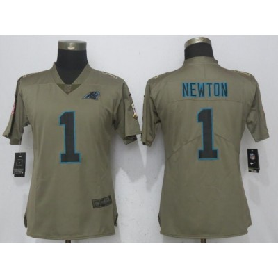 Nike Panthers 1 Cam Newton Olive 2017 Salute To Service Limited Women Jersey
