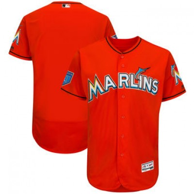 MLB Miami Marlins Orange 2018 Spring Training Flex Base Men Jersey