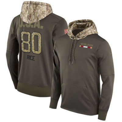 NFL 49ers 80 Jerry Rice Olive Salute To Service Pullover Hoodie