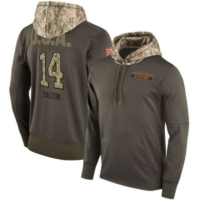 NFL Bengals 14 Andy Dalton Olive Salute To Service Pullover Hoodie