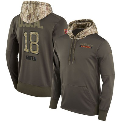 NFL Bengals 18 A.J. Green Olive Salute To Service Pullover Hoodie