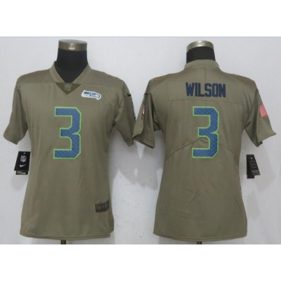 NFL Seahawks 3 Russell Wilson Olive Salute To Service Limited Women Jersey