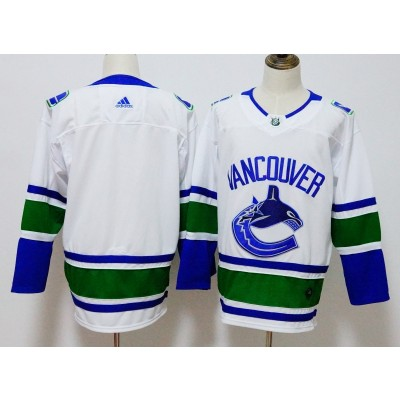 NHL Canucks Blank White Adidas Men Jersey