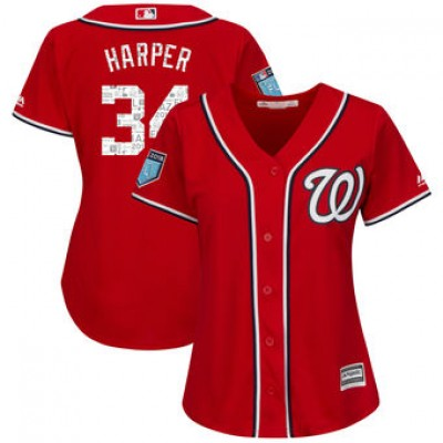 MLB  Nationals 34 Bryce Harper 2018 Spring Training Cool Base Women Jersey