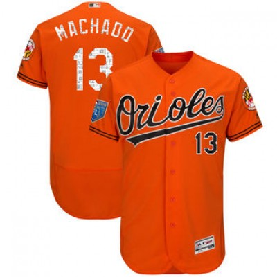 MLB  Orioles 13 Manny Machado Orange 2018 Spring Training Flex Base Men Jersey