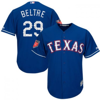 MLB  Rangers 29 Adrian Beltre Royal 2018 Spring Training Cool Base Men Jersey