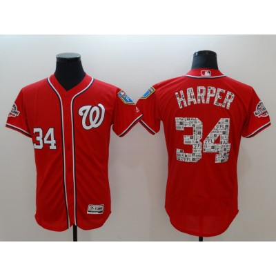 MLB Nationals 34 Bryce Harper 2018 Spring Training Flexbase Men Jersey