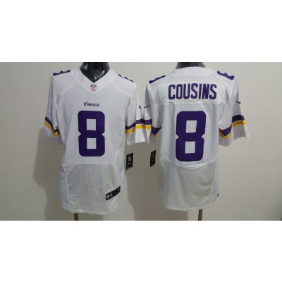 Nike Minnesota Vikings 8 Kirk Cousins White Elite Men Jersey