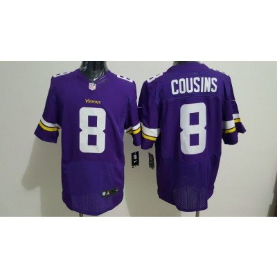 Nike Minnesota Vikings 8 Kirk Cousins Purple Elite Men Jersey