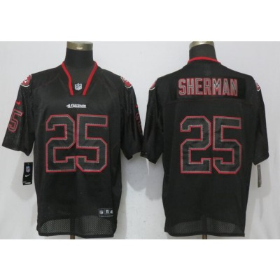 Nike 49ers 25 Richard Sherman Black Lights Out Elite Men Jersey