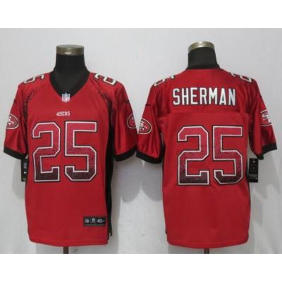 Nike 49ers 25 Richard Sherman Red Drift Fashion Elite Men Jersey