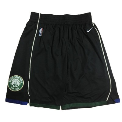 NBA Bucks Black Nike Authentic Shorts