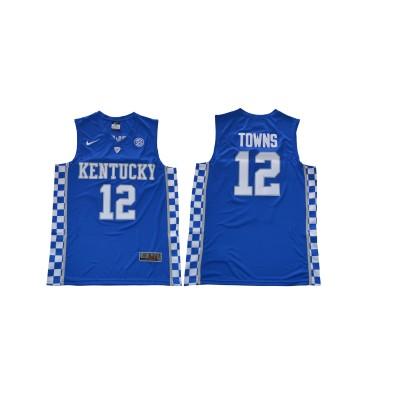 NCAA Kentucky Wildcats 12 Karl-Anthony Towns Blue College Basketball Men Jersey
