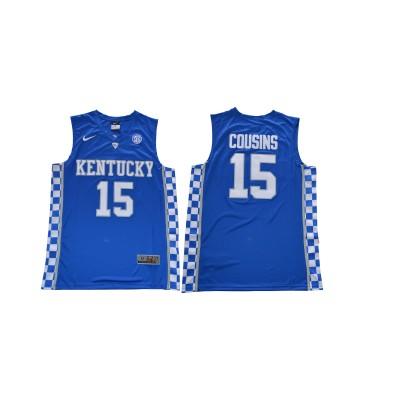 NCAA Kentucky Wildcats 15 DeMarcus Cousins Blue College Basketball Men Jersey