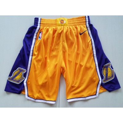 NBA Lakers Yellow Nike Authentic Shorts
