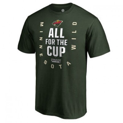 NHL Minnesota Wild Fanatics Branded Green 2018 Stanley Cup Playoffs Bound Behind The Net Men T-Shirt