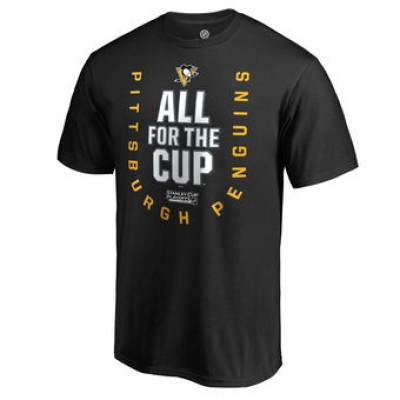 NHL Pittsburgh Penguins Fanatics Branded Black 2018 Stanley Cup Playoffs Bound Behind The Net Men T-Shirt