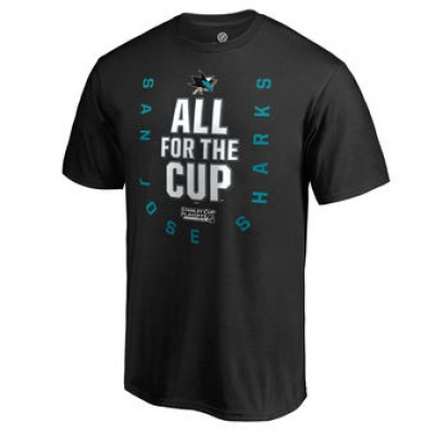 NHL San Jose Sharks Fanatics Branded Black 2018 Stanley Cup Playoffs Bound Behind The Net Men T-Shirt
