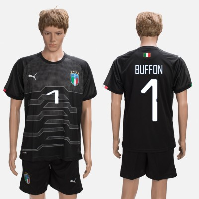 2018-19 Italy 1 BUFFON Black Goalkeeper Soccer Men Jersey