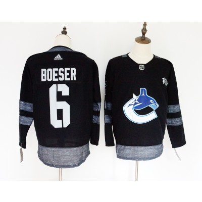 NHL Canucks 6 Brock Boeser Black 100th Anniversary Adidas Men Jersey