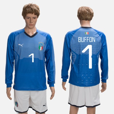 2018-19 Italy 1 BUFFON Home Long Sleeve Soccer Men Jersey