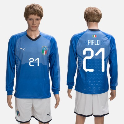 2018-19 Italy 21 PIRLO Home Long Sleeve Soccer Men Jersey