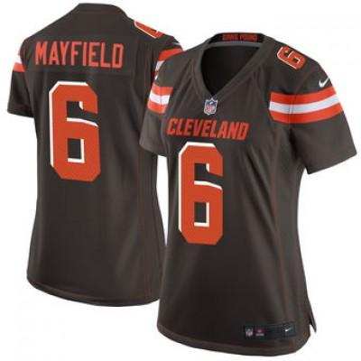 NFL Cleveland Browns 6 Baker Mayfield Nike Brown 2018 NFL Draft Elite Women Jersey