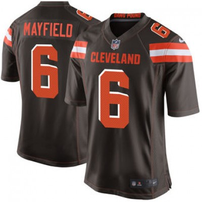 NFL Cleveland Browns 6 Baker Mayfield Nike Brown 2018 NFL Draft Elite Youth Jersey