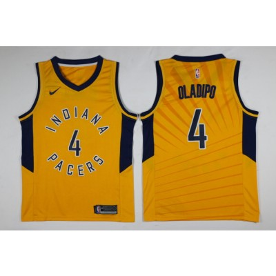 NBA Pacers 4 Victor Oladipo Yellow Nike Men Jersey