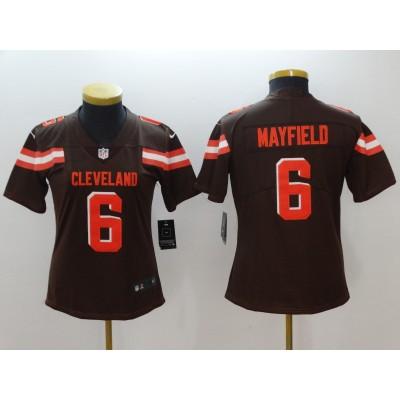 Nike Browns 6 Baker Mayfield Brown Vapor Untouchable Limited Women Jersey