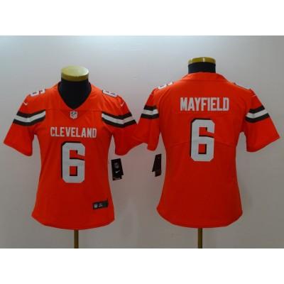 Nike Browns 6 Baker Mayfield Orange Vapor Untouchable Limited Women Jersey