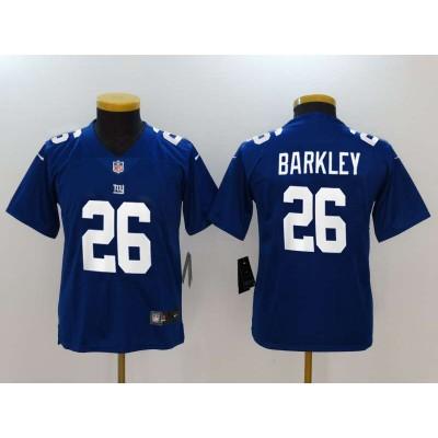 Nike Giants 26 Saquon Barkley Royal Vapor Untouchable Limited  Youth Jersey
